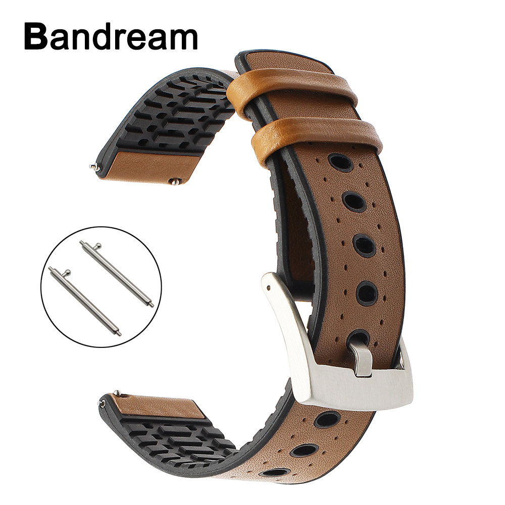 22mm Genuine Leather + Silicone Rubber Watchband for Casio Seiko Citizen Armani Fossil Timex CK Watch Band Quick Release Strap