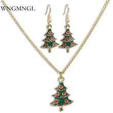 WNGMNGL New Charm Statement Geometric Party Gold Color Chain Necklace Earring Set For Women 2018 Christmas Fashion Jewelry Set wngmngl 2018 new women long necklace christmas party crystal doll pendant necklace for women charm statement fashion jewelry