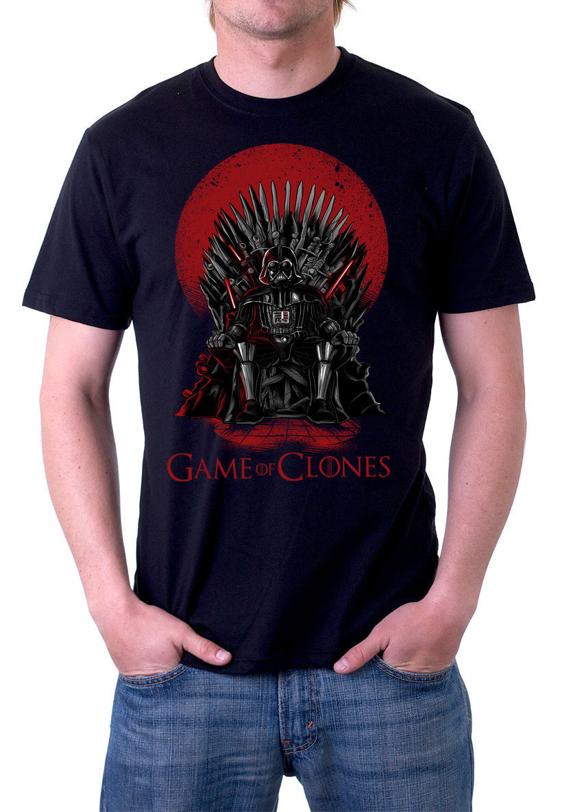 2018 summer brand New Fashion For Men Short Sleeve Game of Clones Darth Wars black or white tee Movie Tee shirt