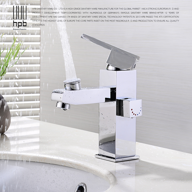 HPB Brass Polished Chrome Bathroom Basin Crane Faucet Mixer Single Handle Deck Mounted Hot And Cold Water HP3050