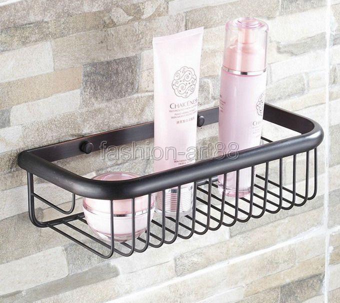 ФОТО Black Oil Rubbed Brass Wall Mounted Bathroom Accessory Single Tier Soap / Sponge Corner Shower Storage Basket aba125