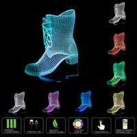 USB Colorful 3D LED Boots Bedroom Office Home Decoration Desk LED Table Lamp Child Crystal Shoes