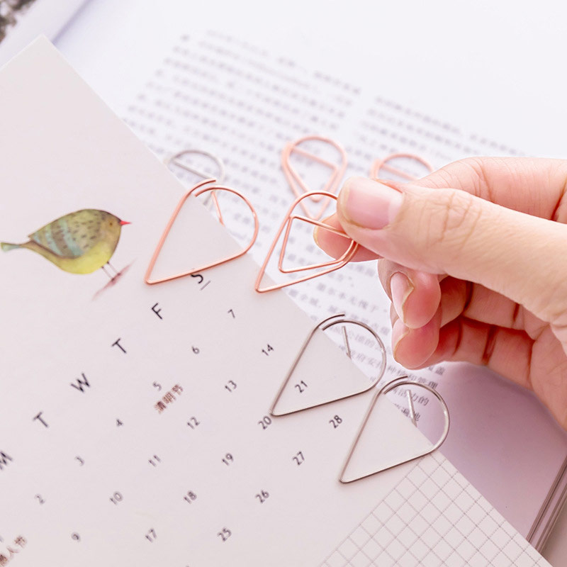 60Pcs/lot Metal Material Drop Shape Paper Clips Gold Silver Color Funny Bookmark Office Shool Stationery Marking Clip