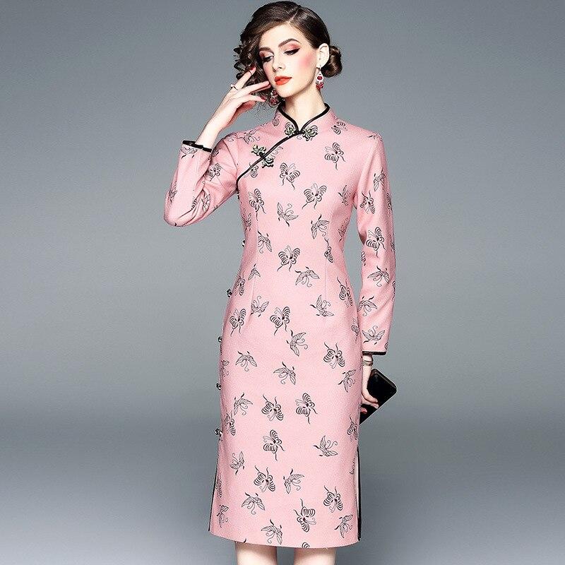 Vintage Femmes Robes D'impression Automne Vêtements Mode Col Mandain Élégant Rose À De Manches 2018 Longues OxfFwAqw