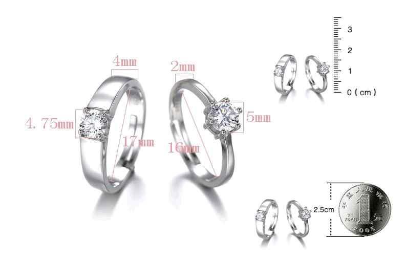 1 комплект кольцо влюбленных Мода 0,7 карат кубического циркония высокое качество стерлингового серебра 925 Свадебные кольца ювелирные изделия