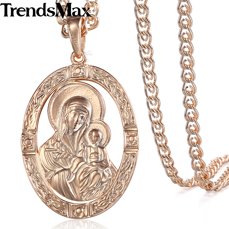Trendsmax Womens Necklace 585 Rose Gold Filled Virgin Mary Jesus Round Pendant Necklace For Women Men KGP194