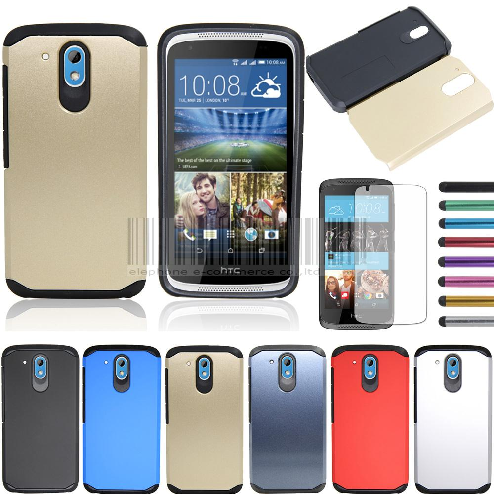 sports shoes aeaa8 df7bc US $6.66 5% OFF|Dual Layer Heavy Duty Impact Hybrid Slim Armor Hard Case  Protective Cover With FILMS+STYLUS For HTC Desire 526 526G 526G+-in Fitted  ...