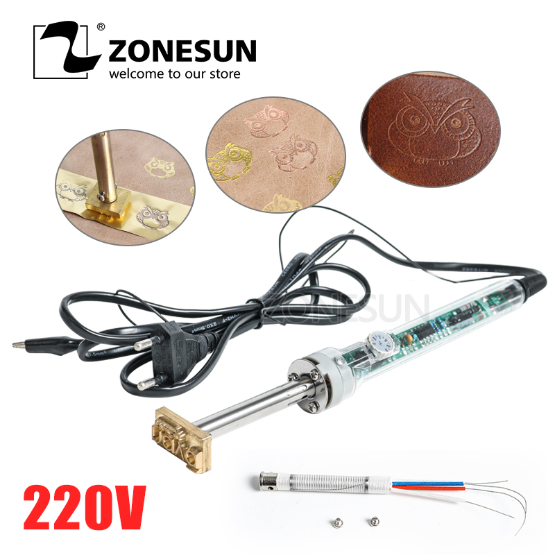ZONESUN 220V/60W Handheld Brand Hot Stamping Machine And Cooled Leather Custom Logo Trademark Hot Stamping Machine With Shipping