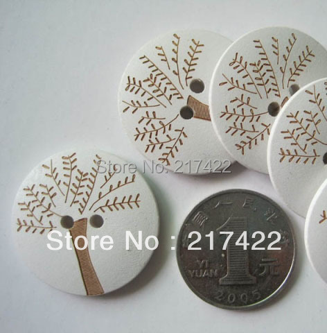 Diameter 30mm Carved Tree Apparel Wood Buttons Garment Accessories