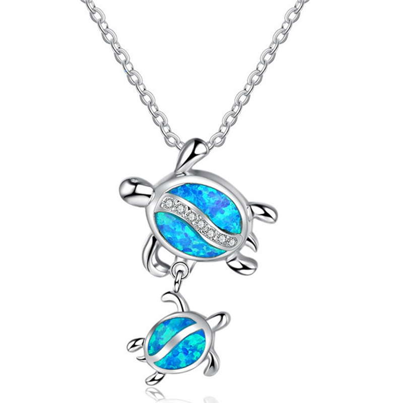 Blue Fire Stone Double Turtle Pendants Necklaces For Women Fashion Animal Jewelry