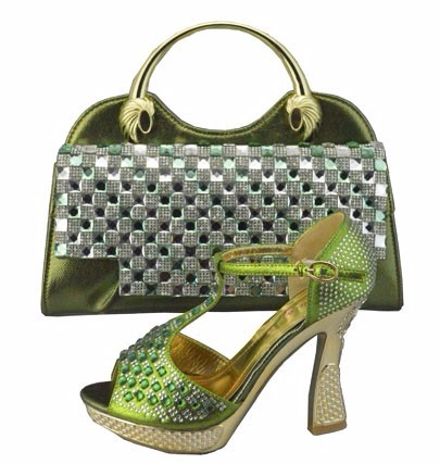 ФОТО New Arrival High Heels Italian Shoes And Matching Bag With Rhinestones African Shoes And Bag Set To Match For Wedding 1308-35