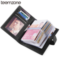 teemzone RFID Women & Men's Genuine Leather Business Casual Credit Card ID Holder Money Card Holder (40 card slots) Wallet K828