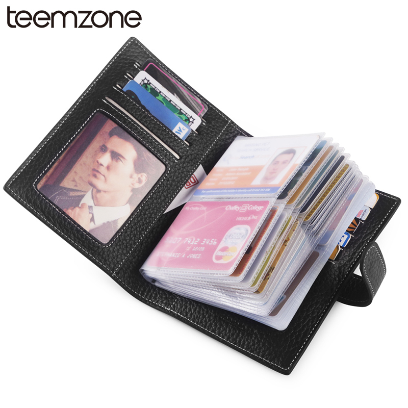 teemzone RFID Women & Mens Genuine Leather Business Casual Credit Card ID Holder Money Card Holder (40 card slots) Wallet K828