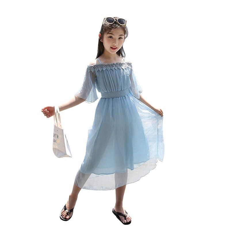 white bare shoulder long dress for 6 - 14 years teenage girls chiffon lace elegant children clothes korean kids beach dresses plain cold shoulder chiffon dress