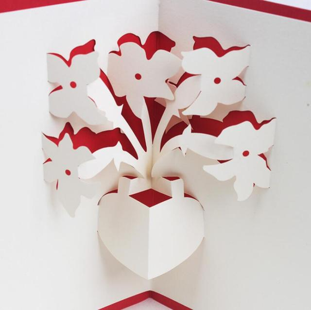 10pcs 3d Creative Flowervase Handmade Kirigami Origami Wedding