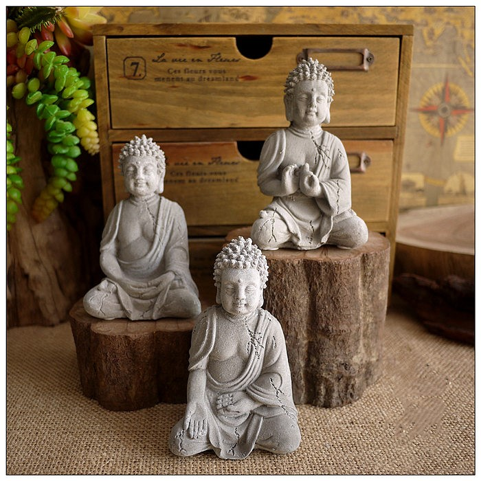Figurine Sculpture Landscaping-Decoration Cement Buddha-Statue Fish-Tank Zen Meditation
