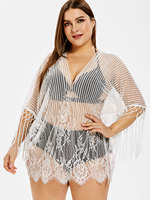 Plus Size Beach Cover Up Bikini Crochet Knitted Lace Tassel Beachwear Summer Swimsuit Fringed Tunic Sexy See Through Beach Dress