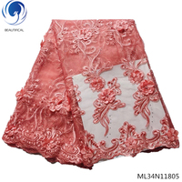 BEAUTIFICAL laces 3d fabric flowers embroidered tulle lace peach wedding fabric cheap fashion cloth ML34N118