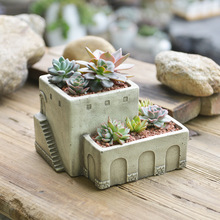 Greek Stone House Nautical Concrete Cement Mansion Garden Planter 2 Layer Living Roof Fairy Home Flower Pot