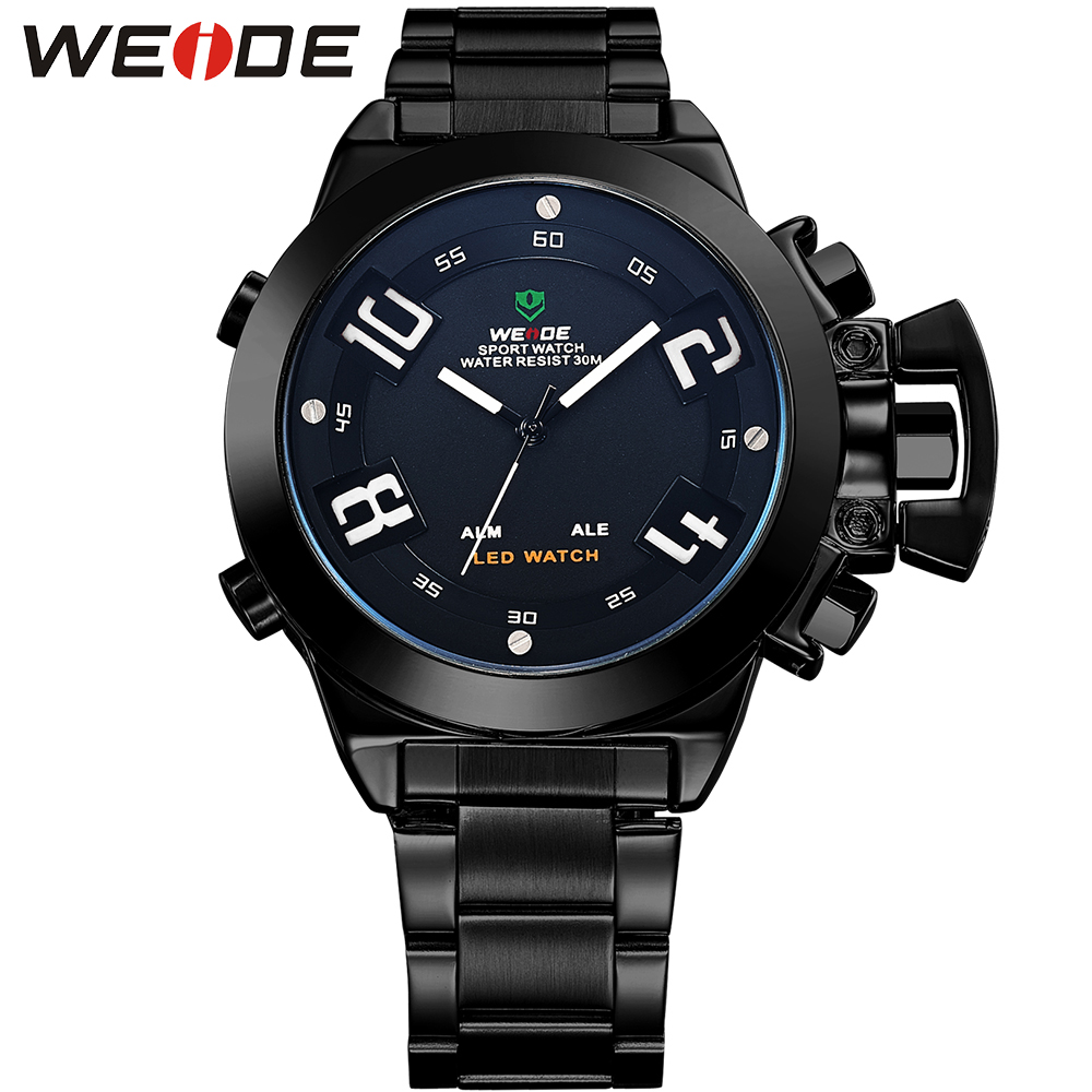 WEIDE Brand Men Sport Wristwatches Quartz Digital Dual Movement Multi-Functional Auto Date LED Back Light Alarm Waterproof Watch weide men running sports quartz watch black strap dual date day back light analog digital alarm clock military watches