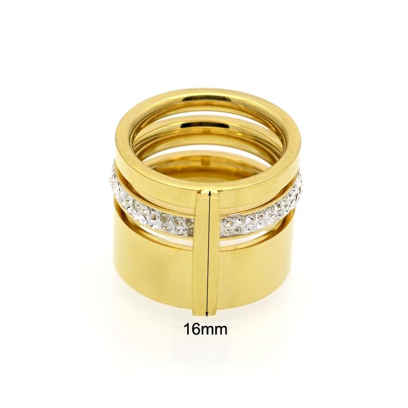 Złoty Kolor Cyrkon Kryształ Tytanu Pierścienie Ze Stali - Modna biżuteria - Zdjęcie 3