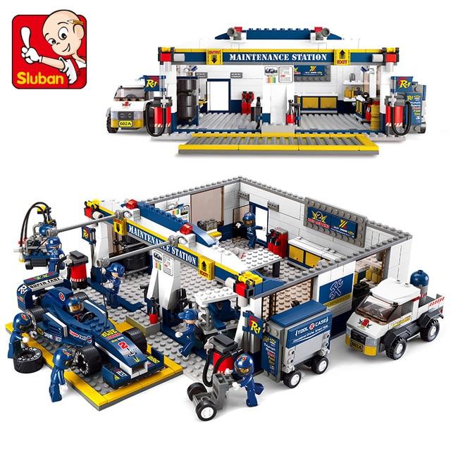 Brinquedo Modelo Compatível com Lego B0356 Sluban 741 pcs Serviço Pista F1 Modelo de Construção Kits Brinquedos Hobbies Modelo Blocos de Construção