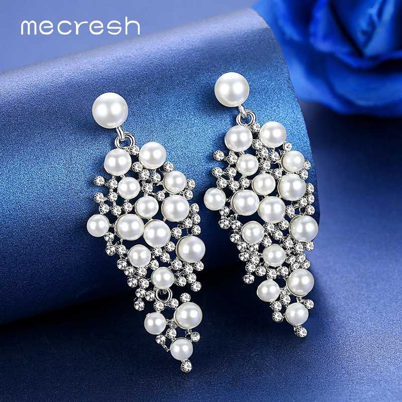 Mecresh Statement Silver Color Simulated Pearl Women Drop Earrings Fashion Jewelry Luxury Large Crystal Hanging Earrings MEH1213