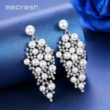 Mecresh Statement Silver Color Simulated Pearl Women Drop Earrings Fashion Jewelry Luxury Large Crystal Hanging MEH1213