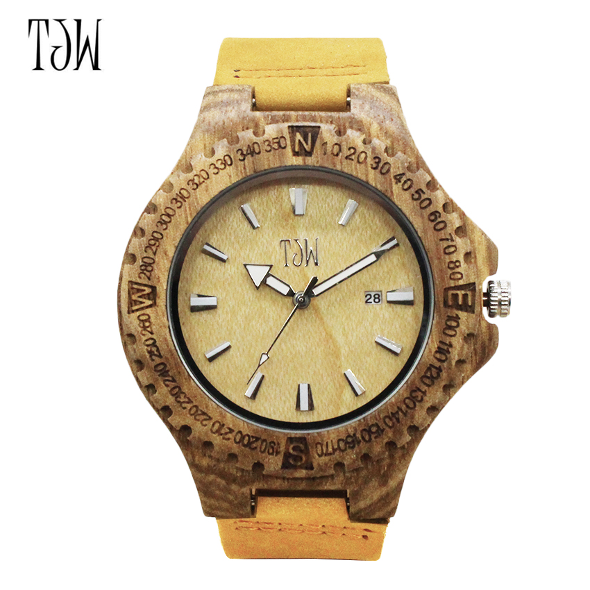 TJW2017 Men's Bamboo Wooden Wristwatches With Genuine Cowhide Leather Band Luxury Wood Watches for Men as Gifts Item fashion new antique genuine cowhide leather band lovers luxury watches zebra wood bamboo wristwatch for women as best gifts
