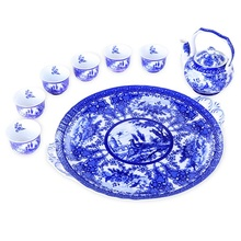 tea pot set chinese teapot  Spot glaze color blue and white ceramics Kung Fu sets trays cups cans