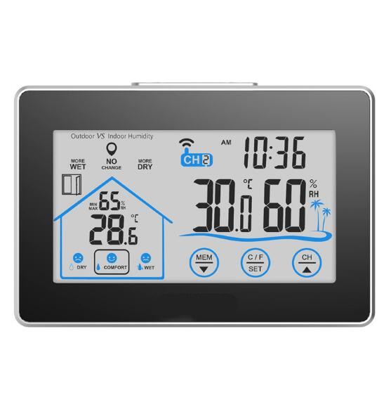 Touch screen digital wireless indoor/outdoor max/min <font><b>temperature</b></font> humidity meter Thermometer Hygrometer weather station 40%off