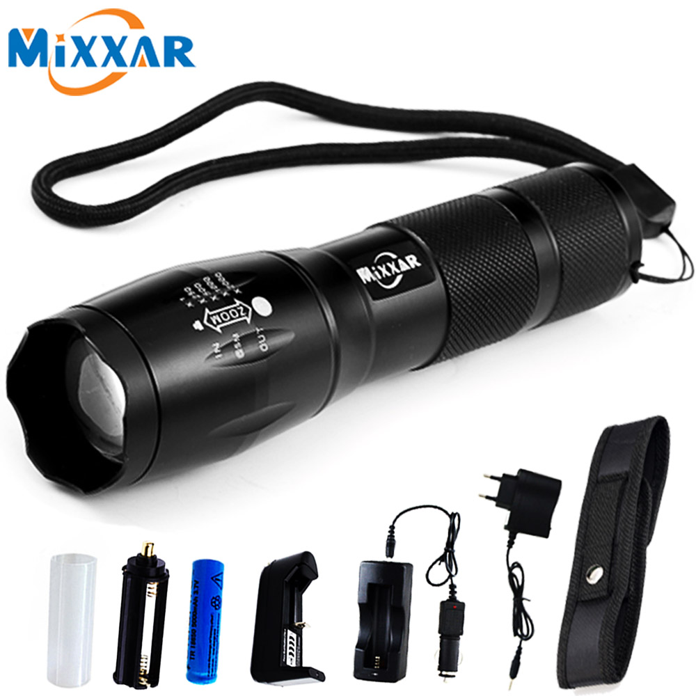 Mixxar CREE XML-T6 4000LM Aluminum Waterproof 5 Mode Zoomable LED Flashlight Torch Light for 18650 Rechargeable Battery or AAA rechargeable l2 led flashlight zoomable cree xml torch portable 5 mode lamp waterproof lanterna 18650 battery and charger