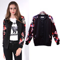 Plus Size Women Clothing 2016 Autumn Winter Women Coat Fashion Print Patchwork Jacket baseball clothes Women Tops XL-4XL FB127