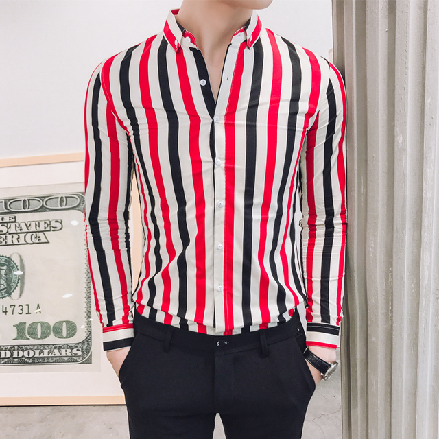 Blue Stripe Shirts Mens Red Camiseta Masculina Slim Fit Men Office Casual Dress