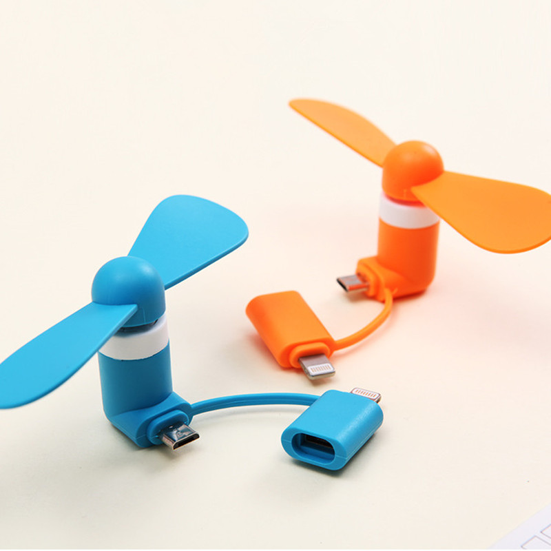 2-in-1 Mini Cell Phone Fan for iPhone/iPad and Android cute android robot cell phone strap black