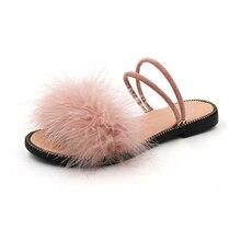 Fur Furry Slide Sweet Feather Flat Beach Womens Sandals Hair Flip Flops Women Home Pulsh Slippers Outside Two Wear Rivet Shoes