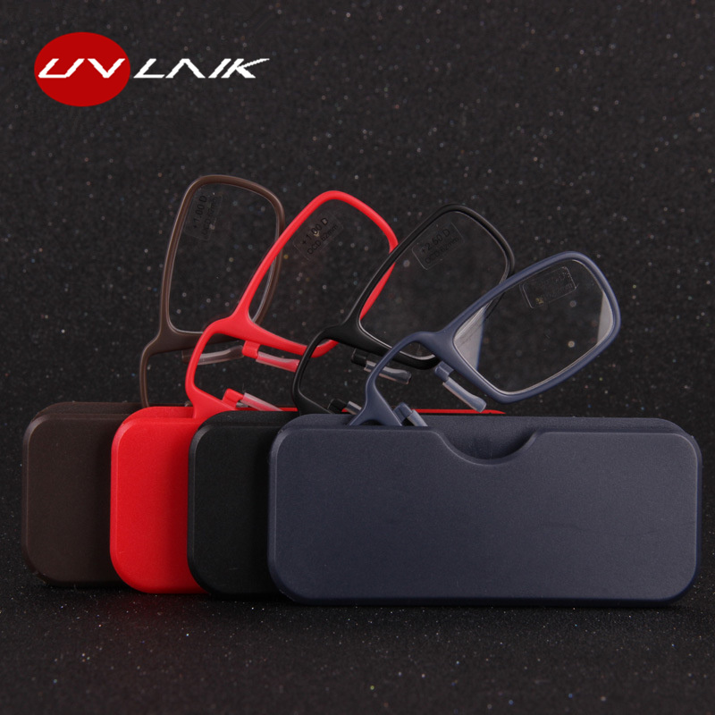 UVLAIK TR90 Clip Nose Reading Glasses Men Women Portable MINI Hyperopia Prescription Eyeglasses Optical Lens With Box Unisex