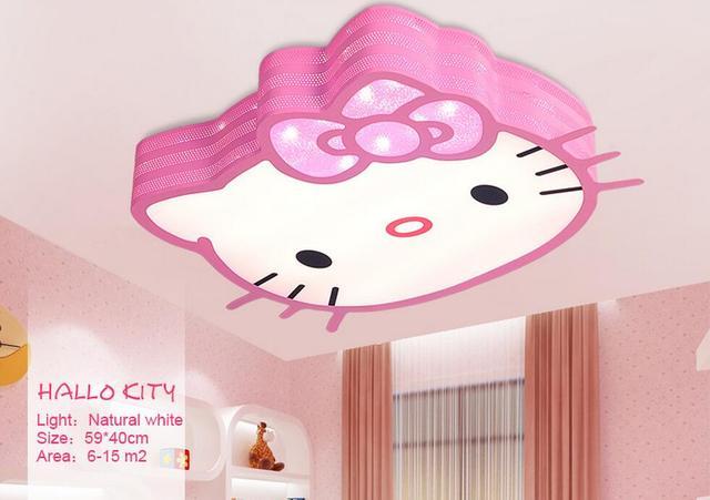 Slaapkamer Lamp Roze : Afstandsbediening hello kitty kids plafondlampen led lamp wit en