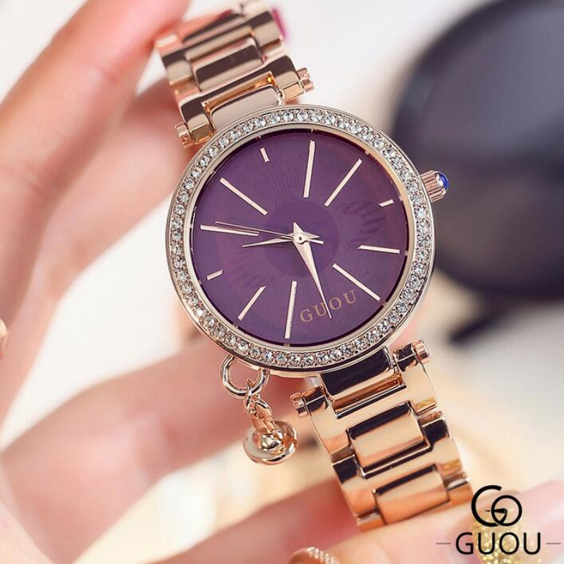 GUOU Top Diamond Wrist Watch Fashion Rose Gold Watch Women Watches Women's Watches Clock saat bayan kol saati relogio feminino bz3008 all aluminum amplifier chassis preamp integrated amplifier amp enclosure case diy box 280 70 211mm