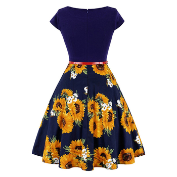 MISSJOY Plus size 4XL Dress kleding vrouwen Vintage Elegant Cap Sleeve Lemon Flower Print pin up fashionable dresses kerst jurk 4