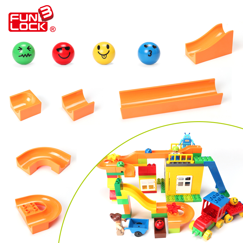 FUNLOCK Duplo 12pcs Marble Run Slide Block Pack Educational Creative font b Toys b font For