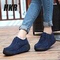 HKR 2016 outono mulheres ankle boots de camurça mulheres de couro botas de inverno mulheres botas de plataforma plana sapatos casuais sapatos de plataforma Trepadeiras 3582