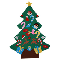 YHYS Power Felt Christmas Tree with Lovely Ornaments Door Wall Hanging Decoration New Year Christmas Children Christmas Gifts