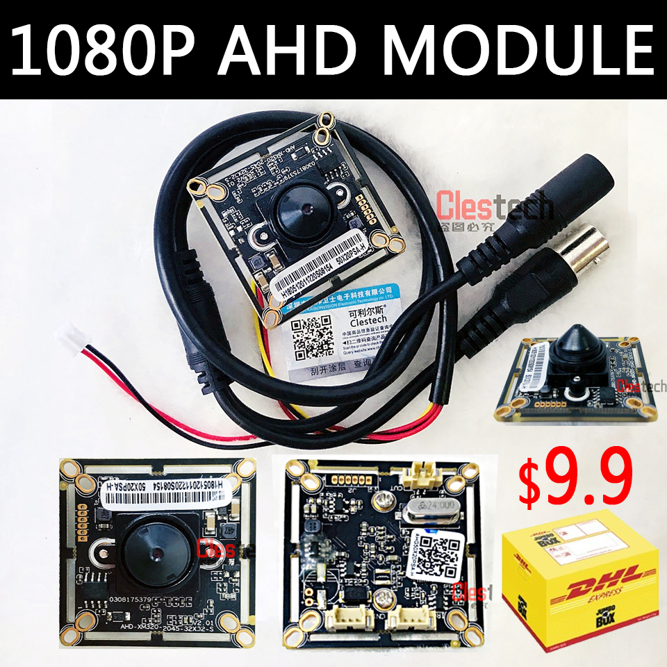 Free shipping 1920*1080p Ahd 200W Mini HD camera chip Monito board module 3.7mm lens pointed cone+Monitoring circuit bnc cable все цены
