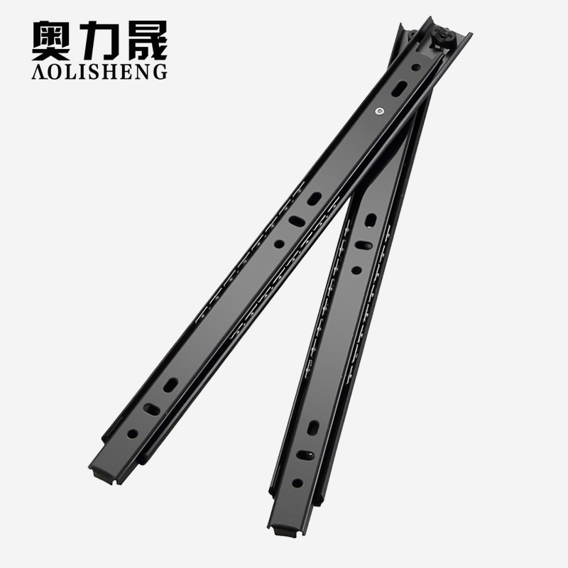 Image 4 - Free Shipping 27mm Width Two Sections Ball Bearing Telescopic Furniture  keyboard tray  Drawer Slides Rail-in Slides from Home Improvement