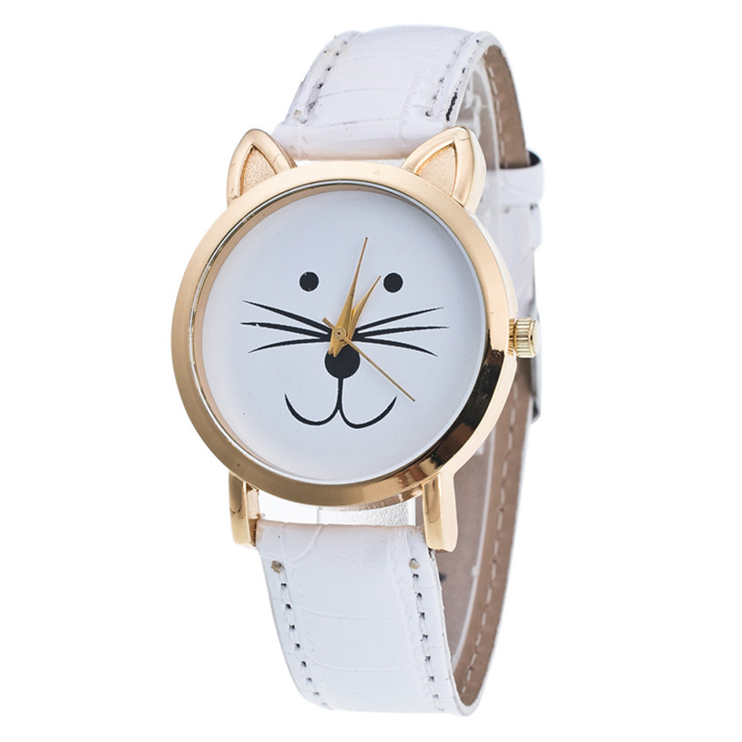 Cat Face Pattern Leather Band Analog Quartz Vogue Wrist Watch Gift Relogio Masculino Uhren Relojes Fe20