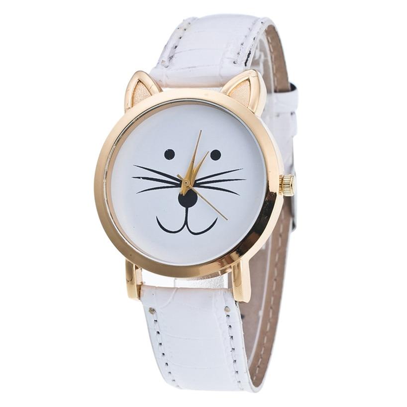 Cat Face Pattern Leather Band Analog Quartz Vogue Wrist Watch Gift Relogio Masculino Uhren Relojes Fe20