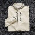 LYNETTE'S CHINOISERIE Primavera Outono Projeto Original Mulheres Delicado Pássaro Decorativo Padrão de Impressão Do Vintage Elegante Camisa Branca