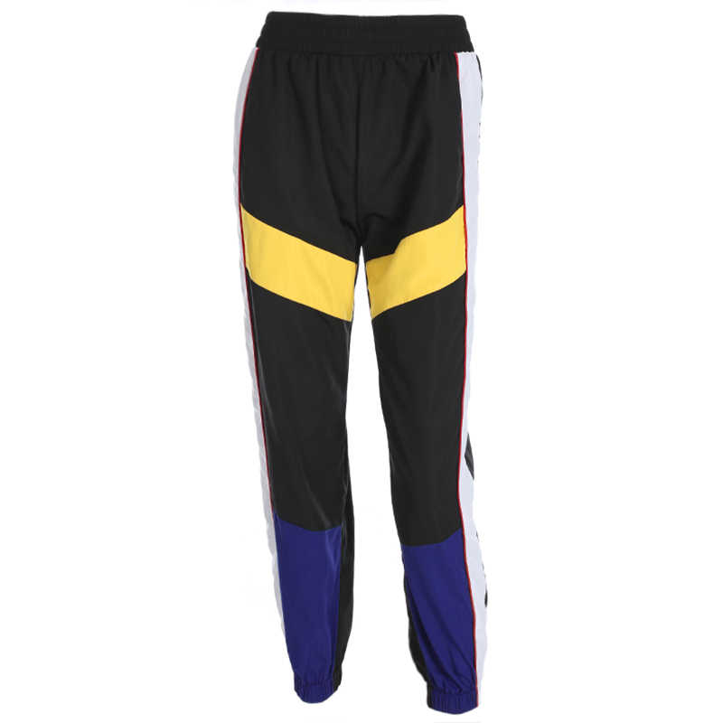 Waatfaak Лоскутные Длинные шаровары брюки женские тренировочные брюки с высокой талией Боковые Полосатые черные брюки тканые эластичные талии фитнес тренировки