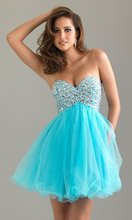 B3-24 Real Hot Sale Lovely Delicate Organza Sweetheart Beaded Paillette Mini Length Party Dresses Gowns